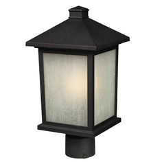 Holbrook Black 12 Inch Outdoor Post Light With White Seedy Glass Post Mounted Outdoor Pos