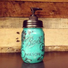 Turquoise Colored Mason Jar Soap Dispenser with Design