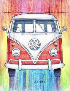 vw t1 gemalt art kunst bulli vw pinterest. Black Bedroom Furniture Sets. Home Design Ideas