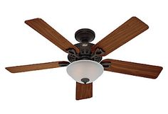 Hunter Fan The Astoria 5 Blade Ceiling Fan, Light Kit Included Finish: Bronze with Walnut/Medium Oak Blades 52 Inch Ceiling Fan, Bronze Ceiling Fan, Ceiling Fan With Remote, Hunter Ceiling Fans, Hunter Fans, Traditional Ceiling Fans, Angled Ceilings, Easy Light
