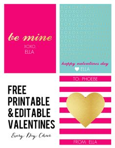 Free printable and Editable Pink and Gold Valentines