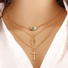 Cross 18K Gold Plated Evil Eye Leaf Pendant Necklace $4.95+Free Shipping. Click Here: http://www.malalajewelry.com/collections/christian-jewelry