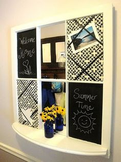 Message Center for the Mudroom made from discarded window! - Pretty Handy Girl