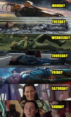 A week in the life of Loki - - A week in the life of Loki Loki! Eine Woche im Leben von Loki Avengers Humor, Funny Marvel Memes, Marvel Jokes, Dc Memes, Funny Movie Memes, Marvel Films, Marvel Characters, Marvel Heroes, Marvel Avengers