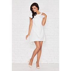 Biała Skromna Sukienka z Dłuższym Tyłem z Plisą