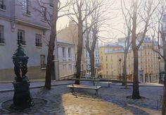 L'artiste Thierry Duval - Crépuscule sur Montmartre