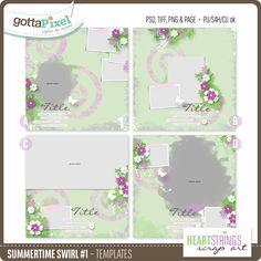 Designer Spotlight & Daily Download 6/1/16 - Gotta Pixel Summertime Swirls #1 Templates by Heartstrings Scrap Art