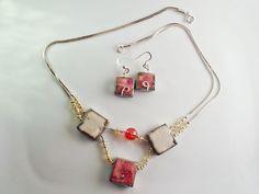Parure collana e orecchini raku argento 925 rosa di LaTerraCanta  RENEW!!