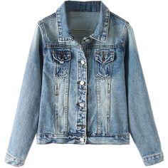 Blue Bleached Denim Jacket (78 BGN) ❤ liked on Polyvore featuring outerwear, jackets, bleached denim jacket and blue jackets