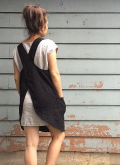 wp automatic <img> Linen Japanese Apron Black Cross Back Pinafore by MissesCountry - Fashion Tips For Women, Womens Fashion, Fashion Usa, Fashion Night, Fashion Spring, Ladies Fashion, High Fashion, Japanese Apron, Women's Fashion Leggings