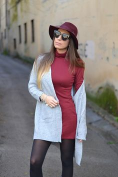 Burgundy dress and grey cardigan