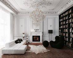 Contraste manichéen dans un salon ultra élégant. #décoration #luxe #salonPlus de nouveautés sur magasinsdeco.fr/
