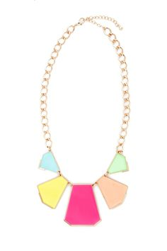 Paint in bright colors when you don this exuberant neon necklace. Five geometric plates hang from a thick gold chain, a look that adds instant punch to your going-out collection.