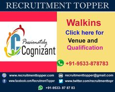Cognizant Walkins for Freshers at Hyderabad #Cognizant #Walkins #CognizantWalkins #CognizantWalkinsinHyderabad #WalkinsforFreshers #CognizantWalkinsforFreshers #CognizantWalkinsforExperienced
