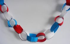 Paper chains in red white and blue paper  #queensbirthday #streetparty #paperchains