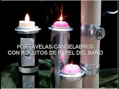 DIY Como hacer portavelas reciclando / Candleholders out of toilet paper...