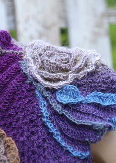 Purple crochet scarf Women's style Flower blue scarf