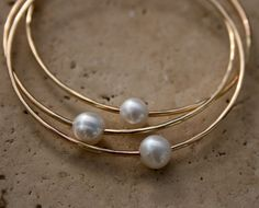 14k Gold fill Bangles Bracelets Pearl White Stacking by KiraFerrer, $128.00