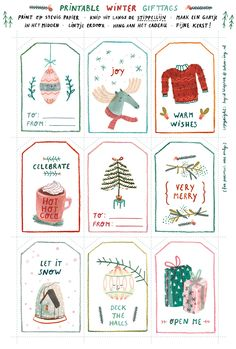 Free download Winter gifttags illustrated by Ingrid Wuyster; seen on HappyMakersBlog.com