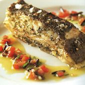 Roasted trancons of turbot with a sauce vierge - Looks like Rick Stein's recipe