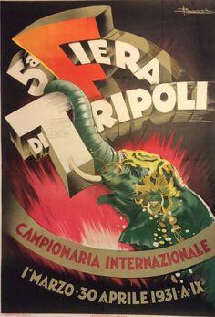 5a. Fiera di #Tripoli #1931 #original #vintage #poster  manifesti originali d'epoca www.posterimage.it