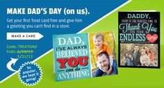 Treat Coupon Code for a FREE Fathers Day Greeting Card + Free Shipping!