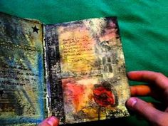 Experiment. This young artist uses hot glue, scrapes of lace, tape, pastels, make, tea, inks, tissue paper, mode podge, transfers, vellum, tracing paper, newspapers, sharpies etc....to make these very textural pages in her sketchbook.  EXPERIMENT!