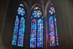 Chagall stained glass windows in the Reims Cathedral - the photo does not do them justice.