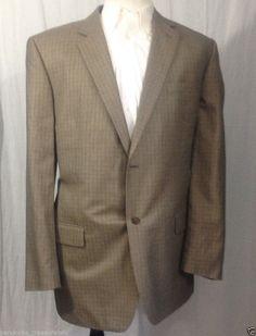 Jos. A. Bank Men`s Sport Coat Blazer Dark Grey Plaided Size 43R