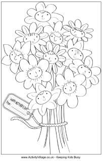 Great website for coloring pages! Mother's Day bouquet colouring page