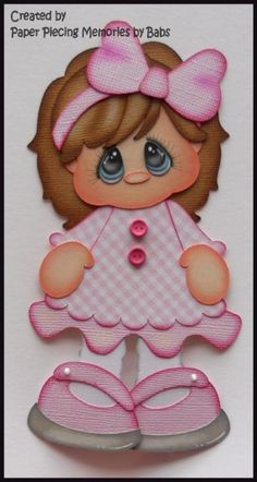 Chica en rosa prefabricados juntar las piezas de papel para la página de álbum de recortes Die Cut por Babs