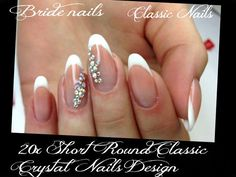 Bride nails design,Wedding Nail,Oval Nail,White nails,UV Gel,free shipping+glue
