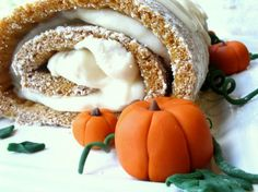 Make your own fondant pumpkins (and here's the link to that cake: http://www.kingarthurflour.com/recipes/pumpkin-ginger-swirl-cake-recipe )