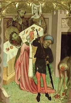 The Beheading of St John the Baptist and Salome Presenting his Head to Herod,1430  Bernardo Martorell