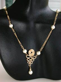 Lots of jewelry tutorials (tool tutorials, also)   Spiral Dangle Necklace.  Jewelry Made with Pearl Beads