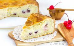 Баскский пирог с заварным кремом и вишней