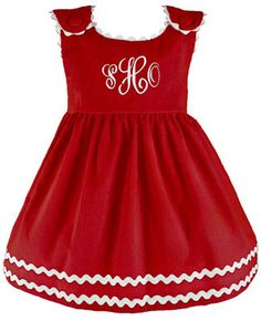 Princess Linens | Princess Linens Red with White Bon Bon Corduroy Dress