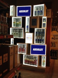 Absolut Vodka - An interesting use of shapes (squares and rectangles) combined with LED lighting to create product highlights. (Alcohol Bottle Display)