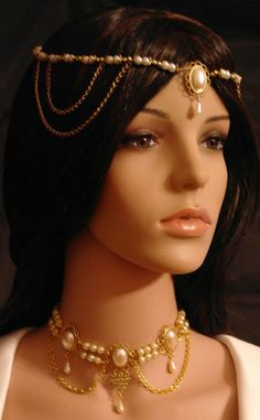 This is a handmade set (you will receive both the circlet and choker)    Made from gold plated settings and glass pearls with faux Ivory
