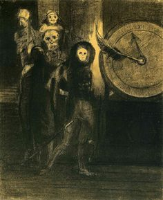 The Mask of the Red Death by Odilon Redon   Medium: charcoal on paper