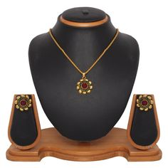 USD 15.45 Maroon Zinc Kundans Necklace With Earrings 43979