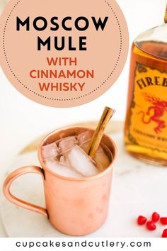 This Moscow Mule with Cinnamon Whisky is a fun twist on the classic cocktail recipe! With Fireball, this recipe is quick and full of cinnamon flavor. It's a great drink idea for Valentine's Day! Refreshing Cocktails, Fun Cocktails, Yummy Drinks, Cocktail Recipes, Easy Mixed Drinks, Mule Recipe, Alcohol Recipes, Ginger Beer, Moscow Mule