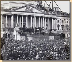 Inauguration of President Abraham Lincoln in front of the U.S. Capital building (still undergoing construction), March 4, 1861.