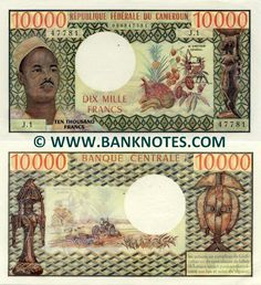Cameroon 10000 Francs (1972) - Front: Portrait of President Ahmadou Babatoura Ahidjo (1924-1989); Tropical fruits; Wood carving statuette of a woman carrying a dish on her head. Back: Tractor ploughing a field; Carved statuette and mask. Watermark: Antelope's head.