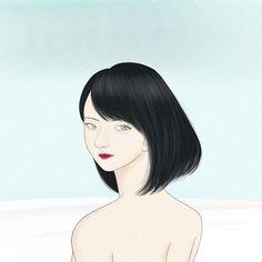 #illustration #illustrator #drawing #drawer #blackhair #hazeleyes #girl #women #ladies #pinklips #blue #beautiful #portrait #イラスト #絵 #イラストレーション #女の子 #少女 #青 #黒髪 #艶髪 #女性 #美人画 #作品 #ポートレイト Hazel Eyes, Pink Lips, Black Hair, Illustration, Artworks, Beautiful, Portrait, Lady, Drawings