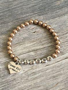 Personalized flower girl pearl bracelet flower by TopsailWinds