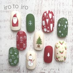 Xmas Nail Art, Christmas Gel Nails, Christmas Nail Art Designs, Holiday Nails, Nail Art Designs Videos, Cute Nail Art Designs, Bling Acrylic Nails, Best Acrylic Nails, Santa Nails