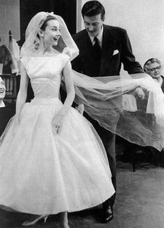 Audrey Hepburn - 1950 Wedding Dress Style I have always loved Audrey. I really feel like my look is a modern interpretation of that 50s wedding look!