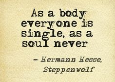 """""""As a body everyone is single, as a soul never"""" -Hermann Hesse"""