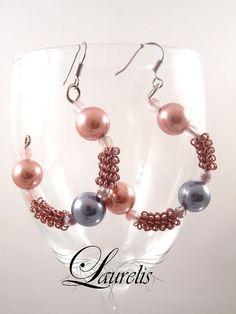Pink wrapped semi hoop earrings by Laurelisbijoux on Etsy, $9.90